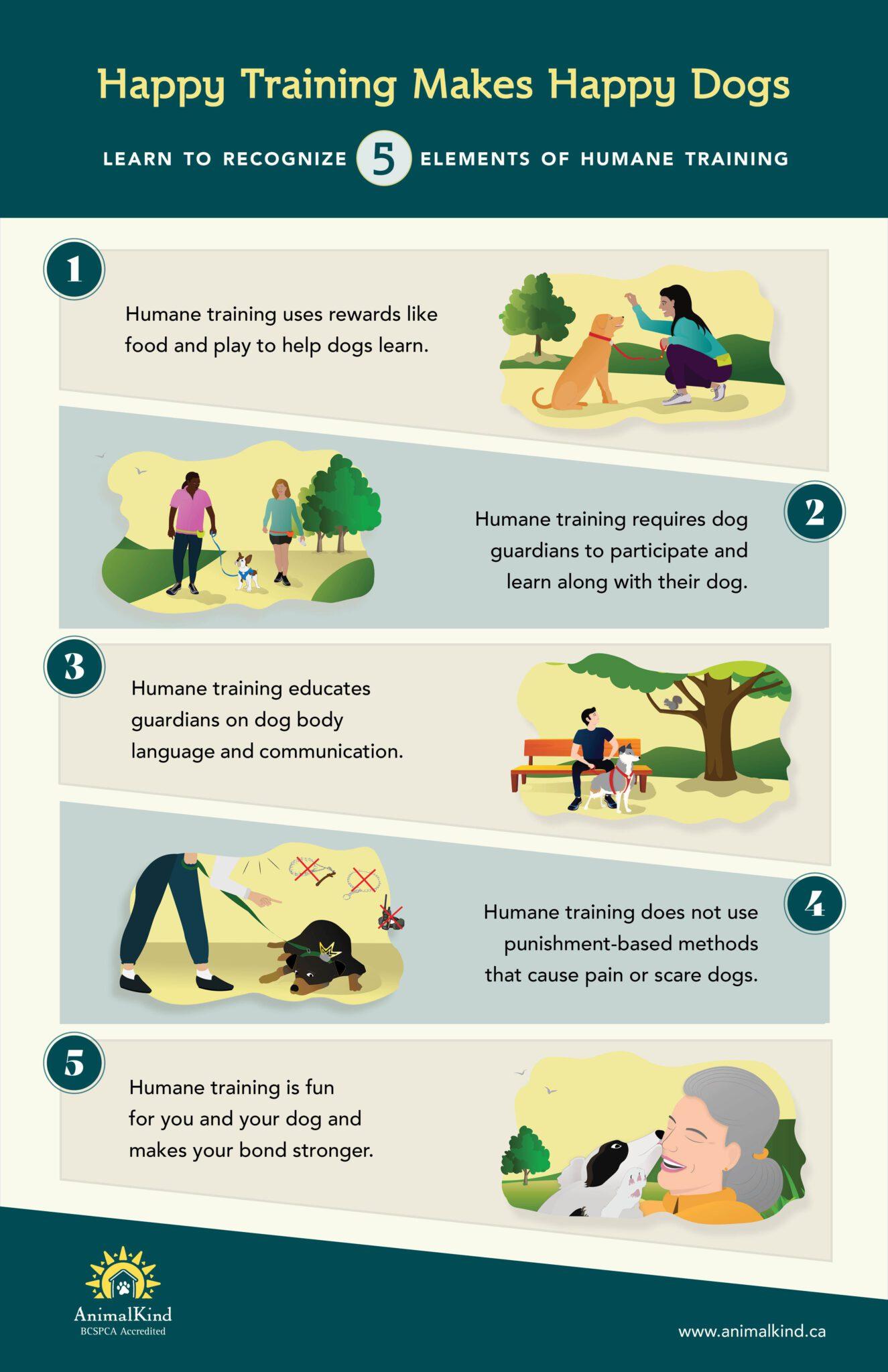 Infographic 5 elements of humane dog training