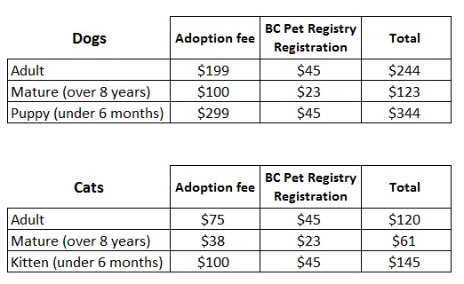 Haida Gwaii Branch Adoption Fees Chart