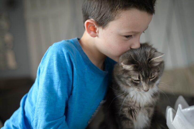 kid with cat