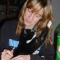 volunteer Kim St Pierre with cat Lukki