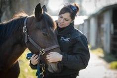 Cruelty investigative Department staff in uniform petting horse outdoors